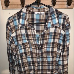 NWOT Cato Plaid Half Button Down Long Shirt